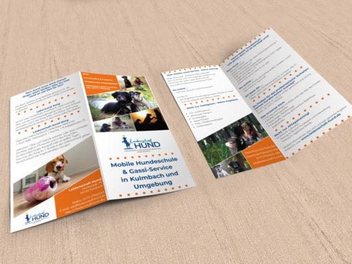 Flyer für eine mobile Hundeschule und GassiService